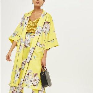 Yellow Heron Print Kimono